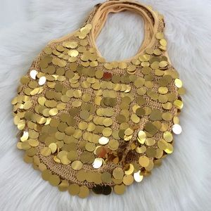 Gold Sequin Hobo Bag 90s Style